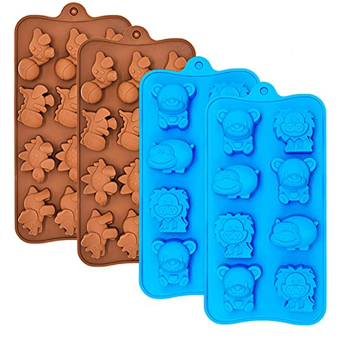 Silicone Chocolate Candy Molds, Non-stick Animal Gummy Molds, Jello Mold, Silicone Baking Mold - BPA Free, Forest Theme with Different Animals, including Dinosaurs, Bear, Lion and Hippo, Set of 4
