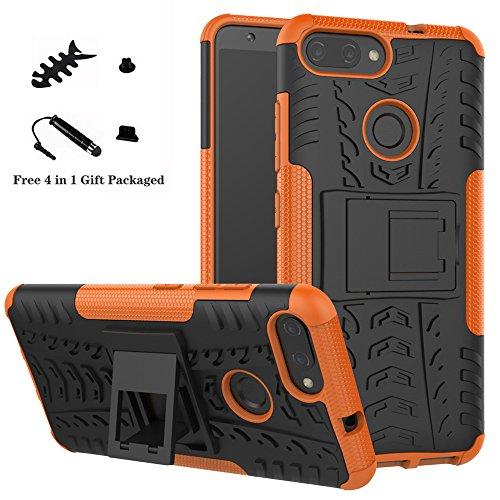 LiuShan ASUS ZB570TL Custodia, Protettiva Shockproof Rigida Dual Layer Resistente agli Urti con cavalletto Caso per ASUS Zenfone Max Plus (M1) ZB570TL Smartphone,Arancione