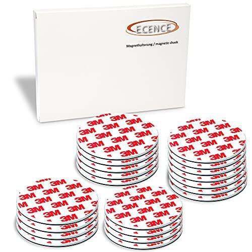 ECENCE Rauchmelder Magnethalter 20 Stück selbstklebende Magnethalterung für Rauchmelder Ø 70mm schnelle & sichere Montage ohne Bohren und Schrauben für alle Feuermelder und Rauchwarnmelder