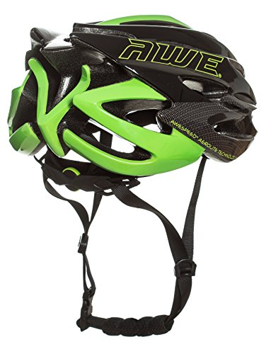 AWE® AWESpeed™ FREE 5 YEAR CRASH REPLACEMENT* In Mould Adult Mens Road Racing Cycling Helmet 58-61cm Black Green Carbon