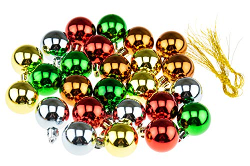 Clever Creations Shatterproof Christmas Ornaments Small 25mm Red, Green, Gold, Silver, Brown Christmas Décor | 25 Pack Set Perfect for Christmas Decorations