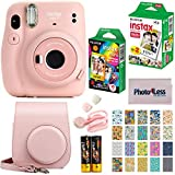 Fujifilm Instax Mini 11 Instant Camera + Fujifilm Instax Mini Twin Pack Instant Film (16437396) + Single Pack Rainbow Film + Case + Travel Stickers (Blush Pink)