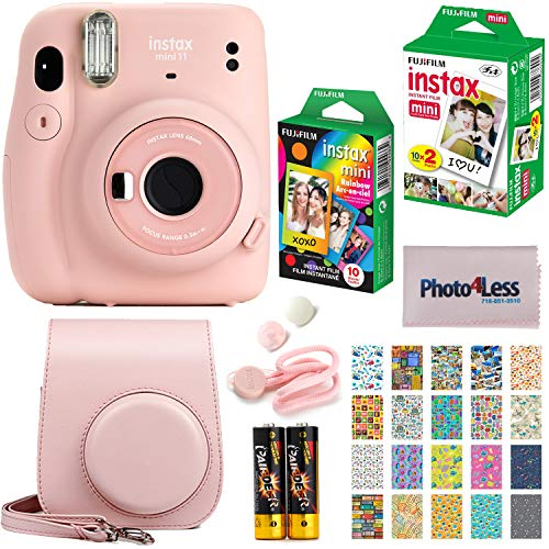 Fujifilm Instax Mini 11 Instant Camera - Blush Pink (16654774) + Fujifilm Instax Mini Twin Pack Instant Film (16437396) + Single Pack Rainbow Film + Case + Travel Stickers