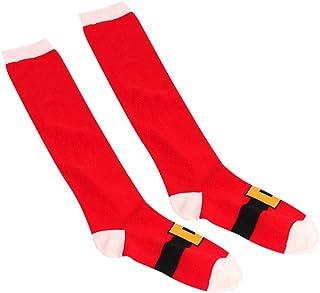 Amosfun, Calcetines hasta la Rodilla de Navidad Calcetines Largos de Tubo Alto Calcetines hasta la Rodilla para Dama niñas Mujeres
