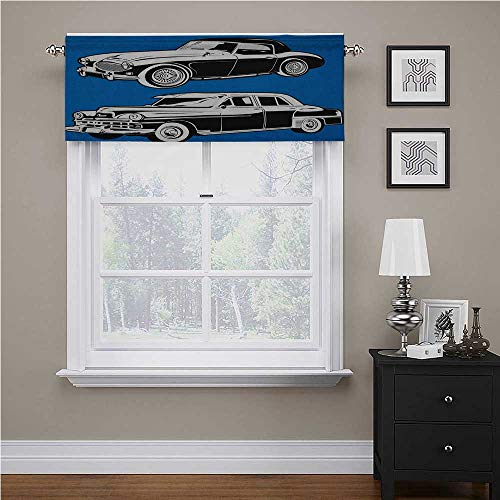 """Interestlee Cars Solid Blackout Valance Black and White Vintage Cars on Navy Blue Backdrop Classic Old Vehicles for Living Room Bedroom Navy Blue Black White, 42"""" x 18"""""""