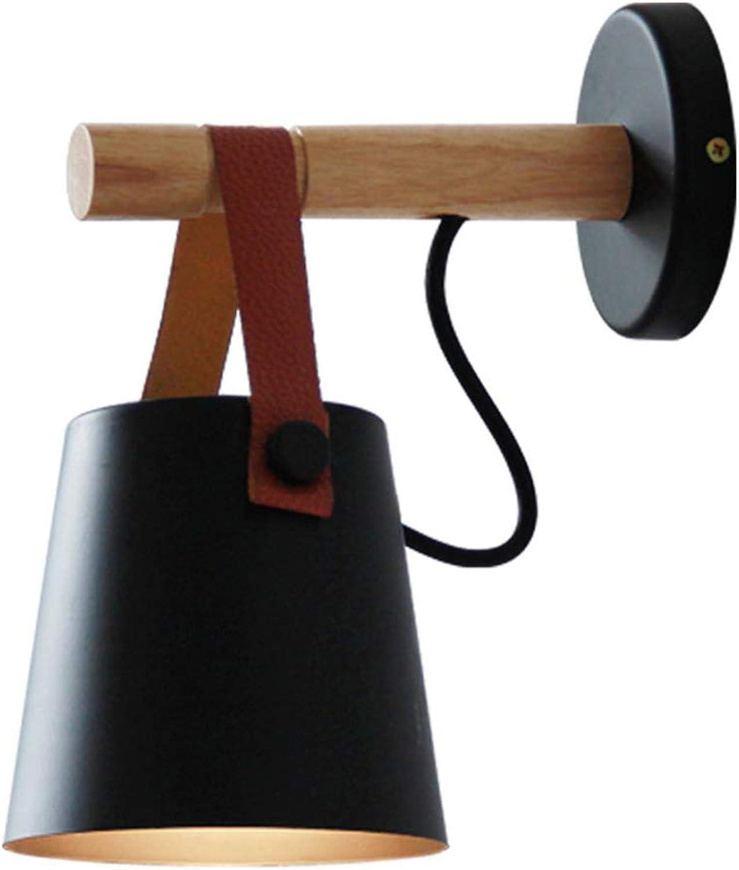 Modern Design Wandlampe Rund Leder Hngen Holz LED Wandleuchte Innen Einfach Rustikal Metal Wandlicht 1-flammig E27 lampe für Landhaus Bad Flur Schlafzimmer Hotel Balkon Licht 13H22cm (Schwarz)