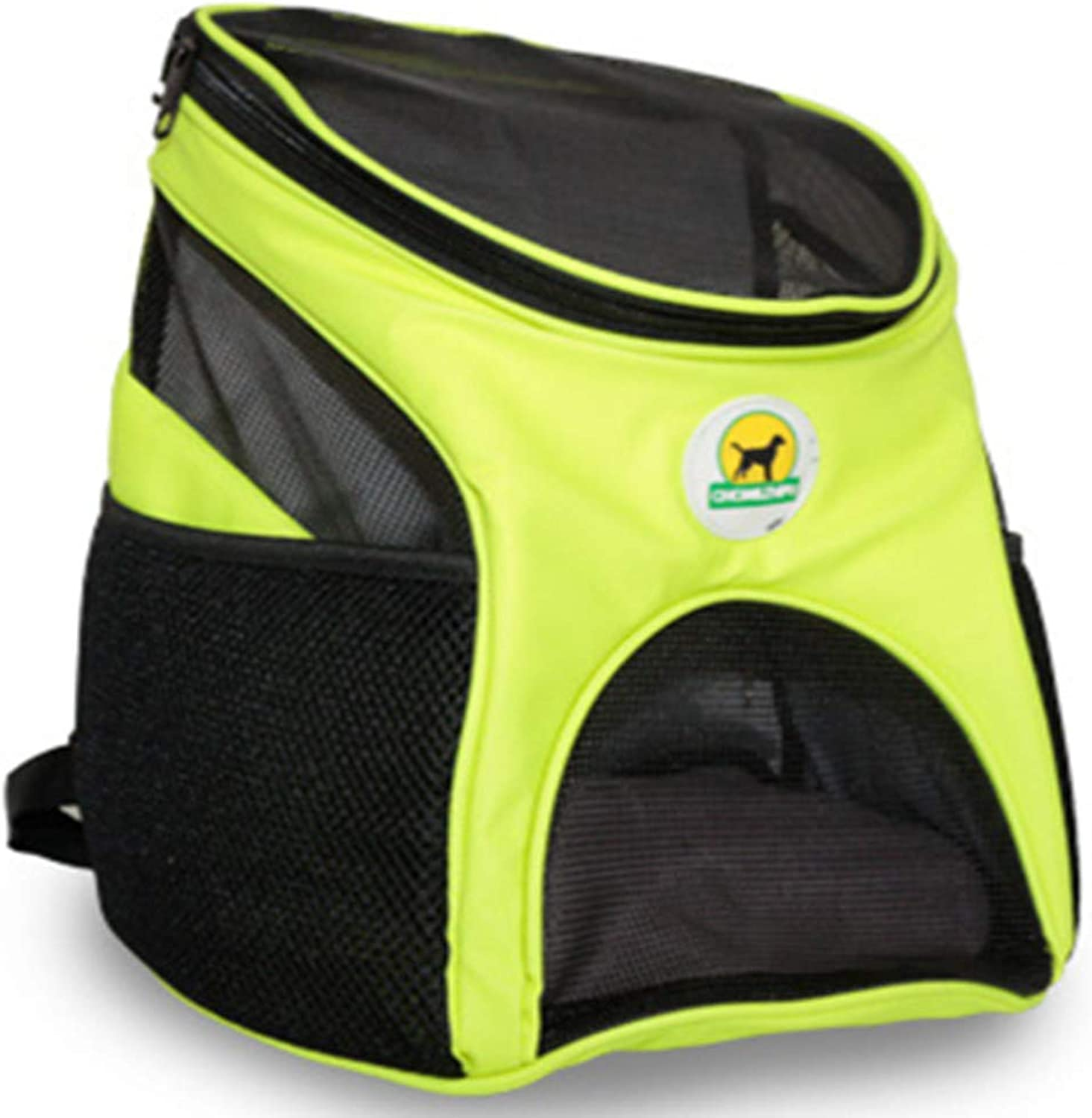 Pet Backpack Fluorescent Cloth Mesh Fashion Casual Multiple Carrying Way Reinforced Handle Breathable Waterproof Comfortable Outdoor Products,Yellow
