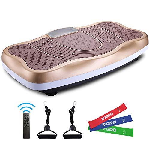 FITODO Pedana Vibrante di Oscillante Dimagrante per a Corpo-Telecomando Senza Fili/Musica Bluetooth/Bande con Maniglia/120 Livelli di velocità(con Bande di Lattice, Golden-W)
