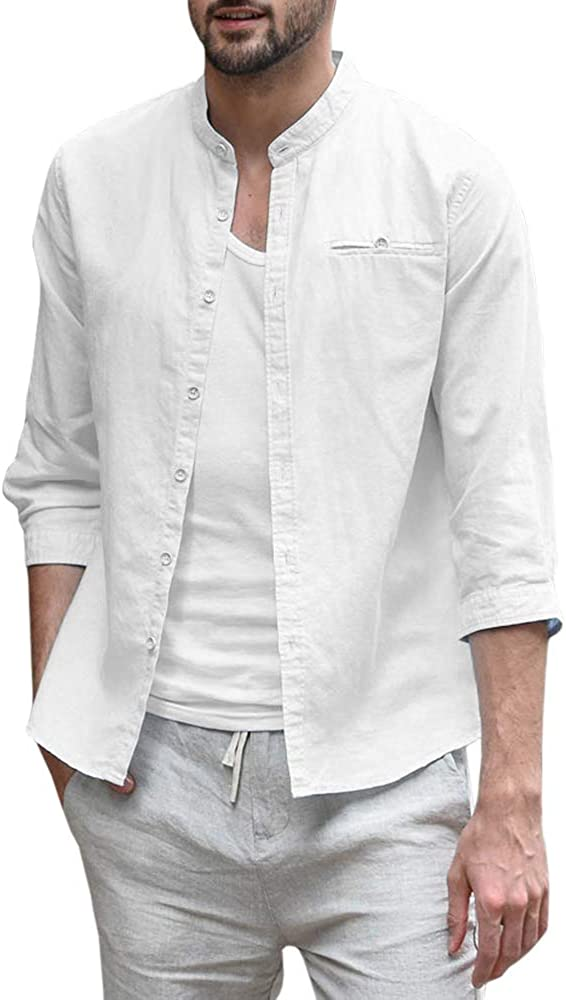 Mens Banded Collar 3/4 Sleeve Shirt Button Up Solid Cotton Regular Fit Casual Shirt Beach Top