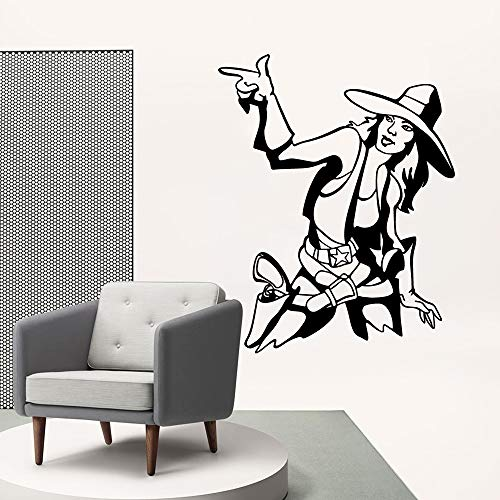 Tianpengyuanshuai Cow Girl Vinyl Wohnzimmer wandaufkleber tapete für Wohnzimmer Firma Schule büro Dekoration entfernbares wandbild 28x35 cm