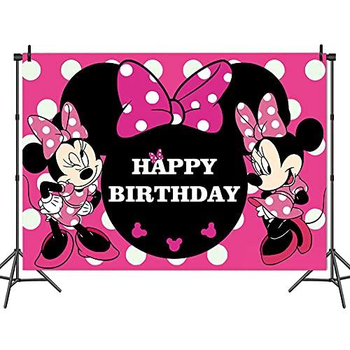 Fondo de Tela Minnie Mouse,BESTZY Minnie Mouse Fotografía Telón de Fondo,Baby Shower y Accesorios de Cabina de Estudio Fotográfico Fiestas de Cumpleaños para Niños150 * 100 cm