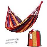ValueHall extérieur doux en coton tissu hamac brésilien Double largeur 2 personne voyage Camping hamac (Rouge)