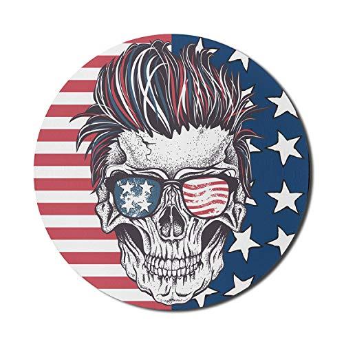 Runde Mauspad, USA Mauspad für Computer, Funky Skull mit Sonnenbrille auf Old Glory Flag Grunge-Stil, rundes, rutschfestes Gummi-Mousepad mit moderner Basis, Coral Night Blue und White Mousepad