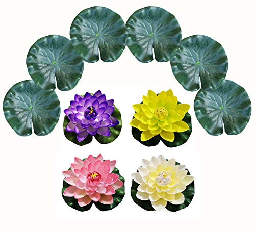 PIXHOTUL 10 Pcs Artificial Floating Pond Decoration Water Floating Lotus Flowers and Lotus Leaves for Pond Decor