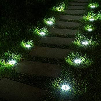 Solpex 12 Pack Solar Ground Lights 8 LED Solar Powered Disk Lights Outdoor Waterproof Garden Landscape Lighting for Yard Deck Lawn Patio Pathway Walkway  White