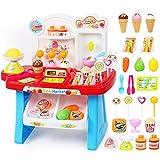 iBàste Supermercado Multifuncional Cajero Carrito de Helados Carrito de Compras de Helados Mesa de Ventas Play House Juguetes para niños