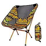 Silla Plegable de Camping Muy Ligera y Compacta Senderismo, Camping, Playa Pesca (Peso Neto Sólo 1 kg, Capacidad de Peso 150 kg) (Amarillo)