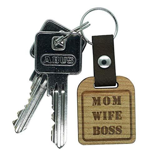 Gravurschmiede Mom Wife Boss Schlüsselanhänger Muttertagsgeschenk, Geschenkidee für Mama zum Geburtstag