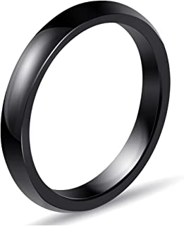 VEINTI+1 Simple Style 3mm Ceramic Ring for Women//Mens Novelty Jewelry,Size 6-10