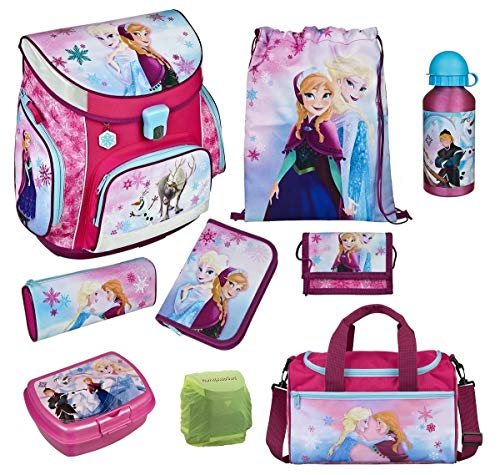 Familando Disney - Lote de mochila escolar y accesorios (9 piezas), diseño de Frozen Bolsa de deporte, estuche, funda de seguridad impermeable.