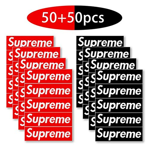 hengwei Sticker [100 stuks, 3.5 x 1.2 inch Box Logo] Waterdichte Vinyl Supreme Stickers voor Auto's, Laptops, Helmen, Skateboards, Bagage. voor Home Decoration