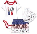Quiltex Girls' Toddler Love 3 Pc Set Skort, Bodysuit, and Bandanna Style Bib, 3-6 Months