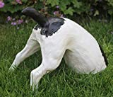 Dekofigur Tierfigur halber Hund H 25 cm Gartenfigur aus Kunstharz
