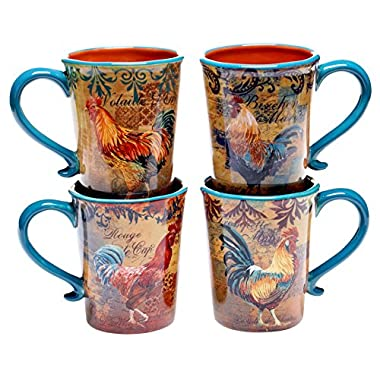 Certified International Rustic Rooster Mug, 16-Ounce, Multicolor, Set of 4