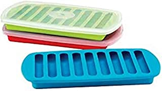 MSC International Joie Tray, LFGB-Approved Silicone, Makes 9 Water Bottle Ice Sticks, Assorted Colors