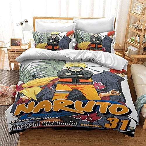 Conjunto de ropa de cama 3D cubierta de edredón, Conjunto de ropa de cama de anime de dibujos animados 3D Funda de edredón Double Queen Cama Edredón Cubierta de cama Edredón Cubierta + Funda de almoha