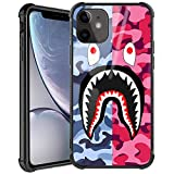 Doulounan iPhone 11 Case, Street Fashion iPhone 11 Luxury Cool for Boys Girls Slim Fit Tempered Glass Cover with Soft Silicone TPU Shockproof Bumper Case for iPhone 11 Case (Pink Blue Shark)