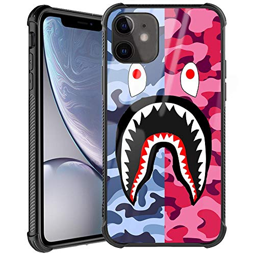 iPhone 11 Case, Street Fashion iPhone 11 Luxury Cool for Boys Girls Slim Fit Tempered Glass Cover with Soft Silicone TPU Shockproof Bumper Case for iPhone 11 Case (Pink Blue Shark)