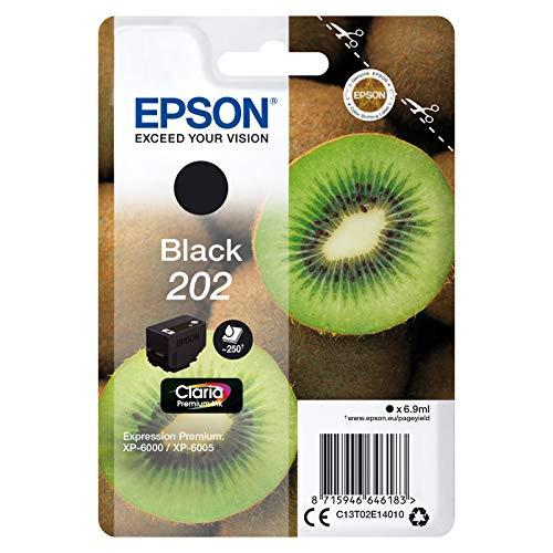 Epson Original 202 Tinte Kiwi (XP-6000 XP-6005 XP-6100 XP-6105, Amazon Dash Replenishment-fähig) schwarz