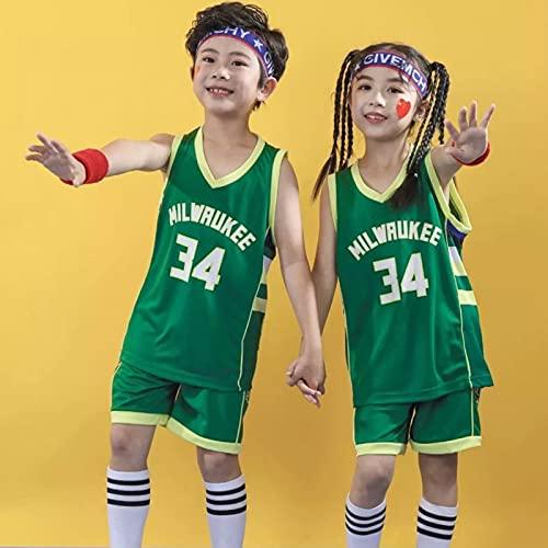 Milwaukee # 34, Kindertagsommer der neuen Kinder mit digitalen Basketball-Uniform ärmelloser Anzug Jungen und Mädchen Leistung Kleidung Green-XS