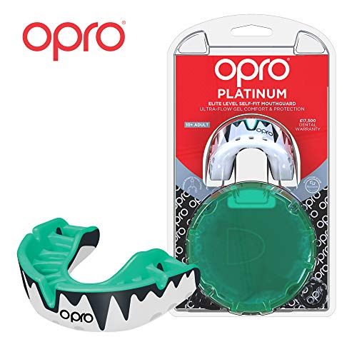 OPRO Platinum Level Mouthguard | Gum Shield for Rugby, Hockey, Boxing, and Other Contact Sports - 18 Month Dental Warranty (Ages 10+) Mint/Pearl/Black