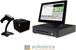 Retail Point of Sale System - Includes Touchscreen PC, POS Software (CRE), Receipt Printer, Scanner, Cash Drawer, Credit Card Swipe Reader, and Integrated LCD Customer Display.