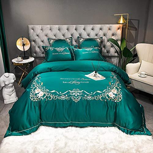geek cook Bedding Set,Washed silk four piece set 100S tribute satin 13372 solid color cotton sky silk four piece set-Emerald_Quilt cover 200 * 230cm