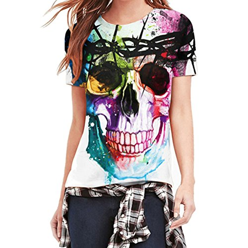LAEMILIA Damen Mädchen T-Shirt Tops Bluse 3D Print Schädel Kurzarm Hemd Tank Skull (EU 38, Skull)