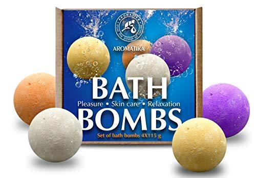Coffret Bombes de Bain 4x115g - Bombes de Bain Moussant avec Huiles Essentielles Naturelles - Kit de Bombes de Bain Multicolores Orange, Cannelle, Lavande, Rose - Cadeau pour Beauté Femme