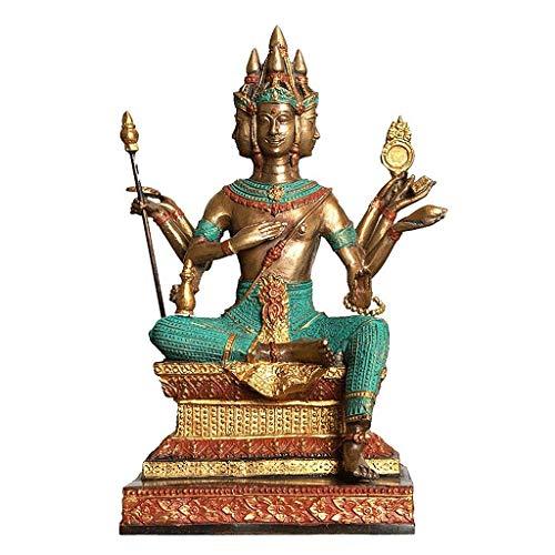 Wgd Foxi Buda De Cuatro Lados En Tailandia, Buda Tailandés De Bronce Pintado A Mano, Símbolo De Amor, Ocupación, Salud Y Riqueza, Adornos De Esculturas Al Estilo del Sudeste Asiático