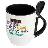 Städtetasse Sulingen - Löffel-Tasse mit Motiv Famous Cities in the World - Becher, Kaffeetasse, Kaffeebecher, Mug - Schwarz