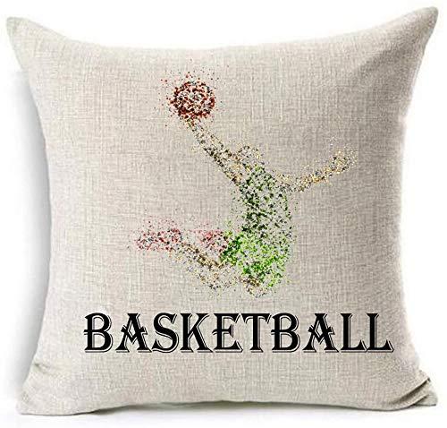 Bernice Winifred Ejercicio físico Cuerpo Baloncesto Algodón Lino Throw Pillow Fundas Funda Cojín Funda Sofá Decorativo Cuadrado (4) -2(20×20)