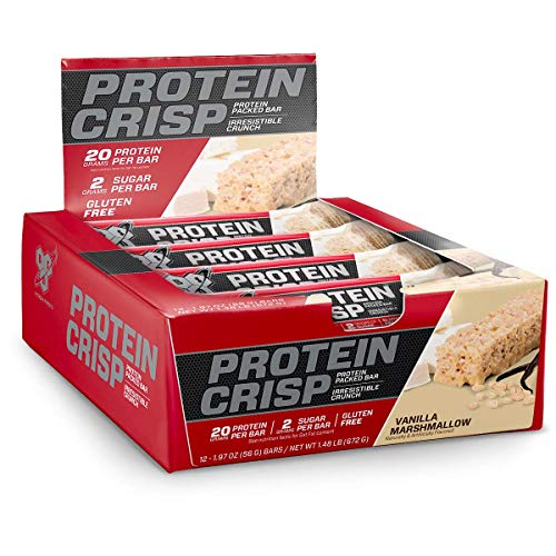 BSN Protein Crisp Bar by Syntha6 Low Sugar Whey Protein Bar 20g of Protein Vanilla Marshmallow 12 Count