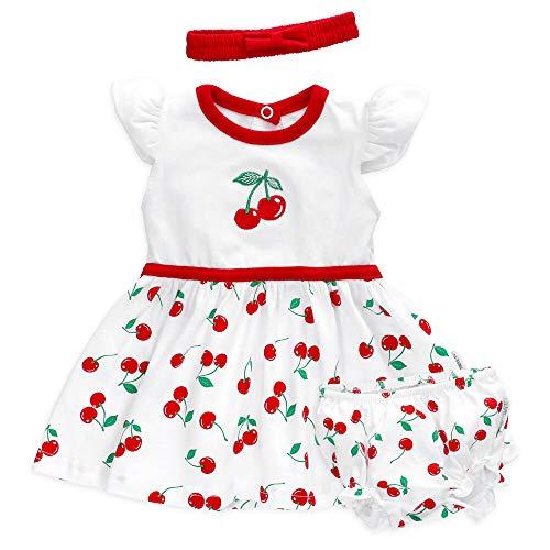 Baby Sweets 3er Babyset Kleid, Pumphose & Baby-Haarband/Newborn Babykleidung Mädchen Weiß-Rot/Babykleid Baby-Outfit im Kirschen-Motiv/Taufkleid Neugeborene & Kleinkinder / 12-18 Monate (86)
