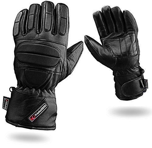 Voll Gepolstert Schutz Leder Motorradhandschuhe Wasserdicht Thermal, M