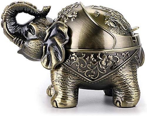 noyydh Cigarrillos a Prueba de Viento Elefante Cenicero Cenicero Escritorio del Metal de Soporte con la Tapa (Color : Bronze)