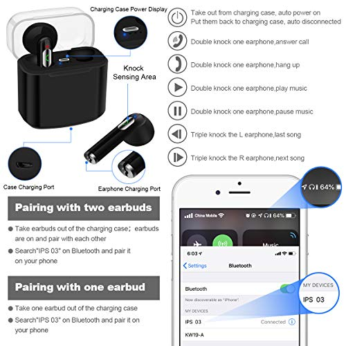 Wireless Earbuds,Bluetooth Earbuds Wireless Earphones Stereo Wireless Earbuds with Microphone/Charging Case Bluetooth in Ear Earphones Sports Earpieces Compatible iOS Samsung Android Phones Black 7