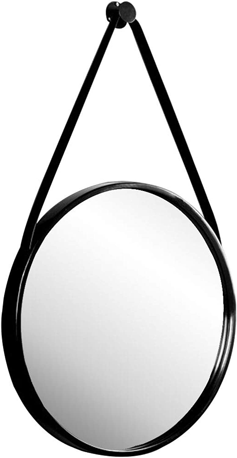 Concise Wall Mount Mirror with Hanging Strap Shatterproof Metal Frame Decoration Mirror Ldeal for Bathroom Vanity Makeup Living Room Bedroom Hallway (Black,11.8-31.5 Inch)