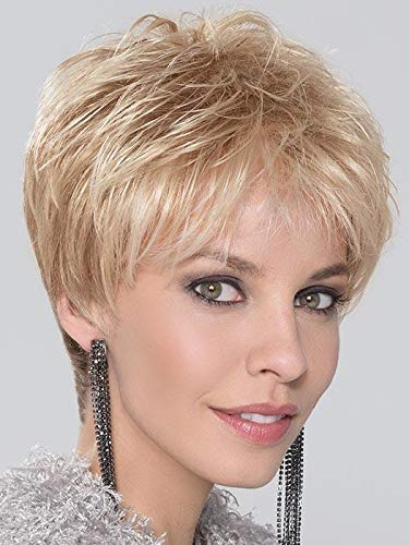 Coco Wig Petite Avg Cap Color Platinum Blonde Rooted- Ellen Wille Wigs 3.5' Short Pixie Cut Synthetic Lace Front Monofilament Crown Piece Out Bangs Peluca Smaller Heads Bundle MaxWigs Hairloss Booklet