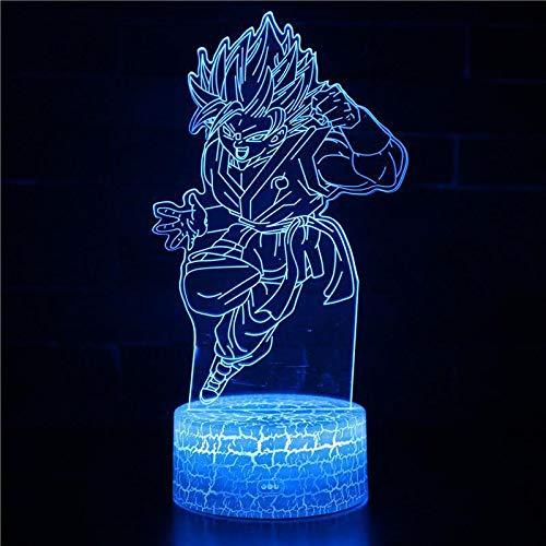 Dibujos animados clásicos Anime Dragon ball super saiyan Cute Angry Goku serie Vegeta 3D Lámpara de mesa Decoración Navidad Niños Regalo Luz de noche